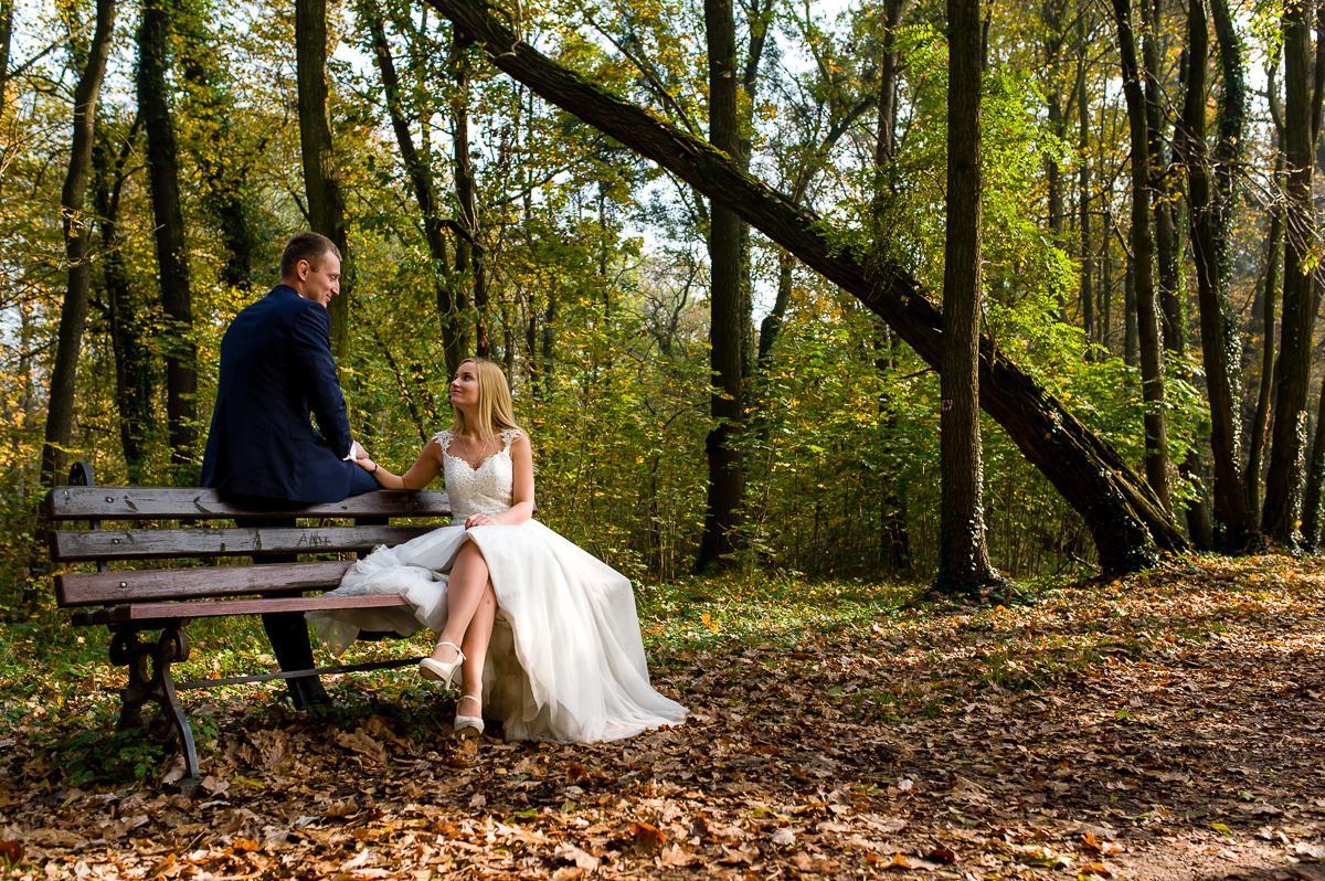 plener ślubny jesienią w parku
