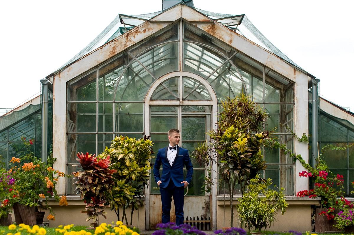 piękne sesja ślubna w ogrodzie botanicznym w Krakowie