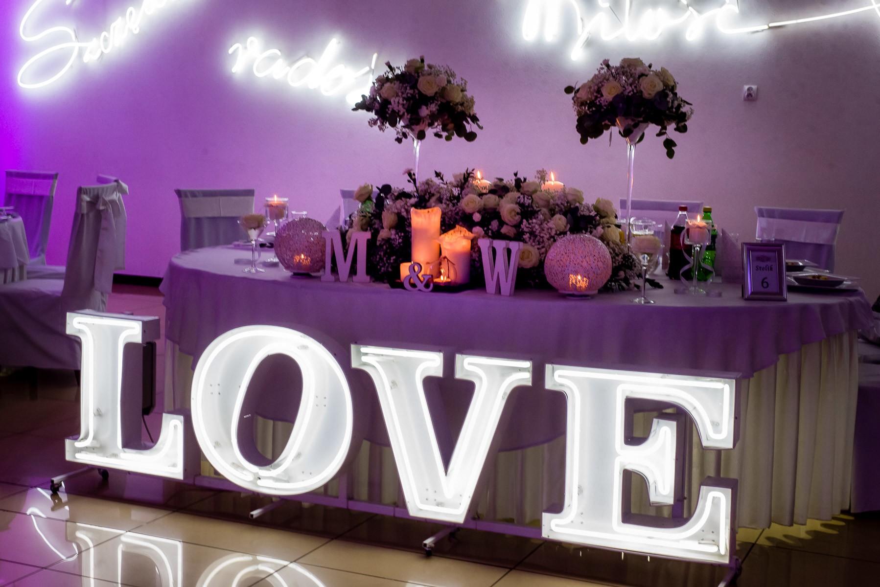 litery napis love na wesele Śląsk Małopolska